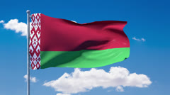 Belarusian flag waving over a blue cloudy sky Stock Footage