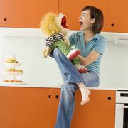 Young woman with puppet Stock Photos