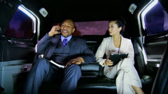 Business Leaders Wireless Tablet Smart Phone Limousine Stock Footage