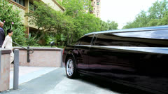 Multi Ethnic Business Executives Using Limousine Stock Footage