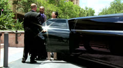 Chauffeur Seating Multi Ethnic Passengers Luxury Limousine Stock Footage