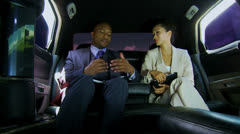 Smart Business Leaders Wireless Tablet Limousine Stock Footage
