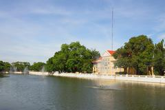 classic building water front canel of park. - stock photo