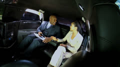 Successful Business People Travelling Limousine Stock Footage