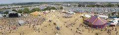 panoramic view of the glastonbury festival site - stock photo