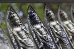 small bodhisattva statues at temple in kyoto - stock photo