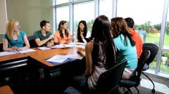Caucasian Female Tutor Class Multi Ethnic Students - stock footage