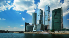 Modern office buildings, Moscow, time-lapse. Stock Footage