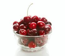 Sweet cherries in glass ware Stock Photos