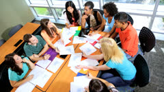 Multi Ethnic Teenage Students College Classroom Overhead - stock footage