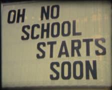 SUPER8 sign school start soon - stock footage