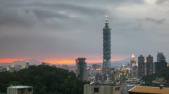 Taipei city sunset time lapse Stock Footage