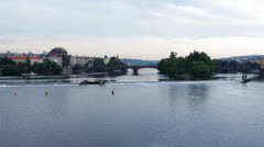Sunset over river Vltava of Praha, Prag Stock Footage