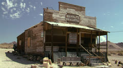 A rundown abandoned building in the old ghost town of Rhyolite Nevada near Death Stock Footage