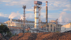 Sugar refinery - Industrial buildings exterior - stock footage