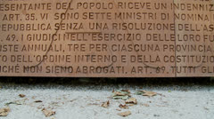Memorial wall upon Janiculum Hill in Rome 1 (slomo dolly) Stock Footage