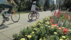 Prince's Island Flowers and Bicycles Stock Footage