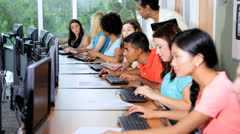 Teenage Multi Ethnic College Students Working Computers Stock Footage