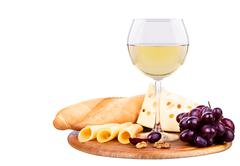 picnic with wine and food - stock photo