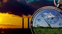 Pipes, green field and clock Stock Footage