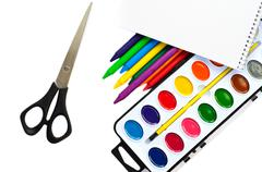 paintbox with water colors, on the white - stock photo