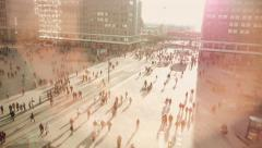 commuter. people. busy street. crowd crowded. population - stock footage