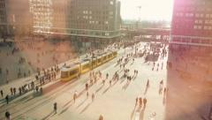 commuter. people. busy street. crowd crowded. population. transportation - stock footage