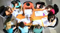 Group Multi Ethnic Teenage Students Caucasian Tutor Overhead - stock footage
