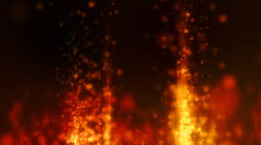 Abstract motion background, fires, shining lights and particles Stock Footage