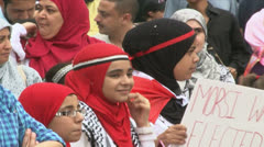 Morsi supporters/Muslim girls - stock footage