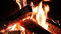 Logs burning in fireplace of country house. Stock Footage
