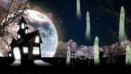 Haunted House with Halloween Ghosts Stock Footage