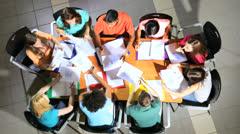 Multi Ethnic Teenage Students College Classroom Overhead - stock footage