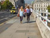 Stock Photo of london, england, uk - september 27, 2011: people crossing the waterloo bridge