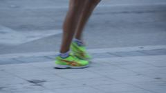 Man Walking On Sidewalk Stock Footage