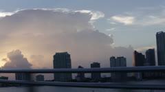 Miami Skyline in Sunset Stock Footage