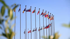 International flags. - stock footage
