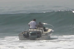 Boat Crashes Into Big Waves Stock Footage
