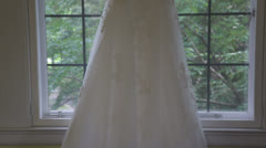Wedding gown zoom back to static Stock Footage