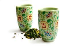 Set of ware for green tea Stock Photos