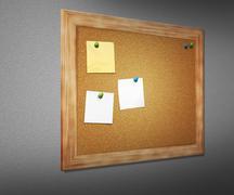 Stock Illustration of cork board on wall
