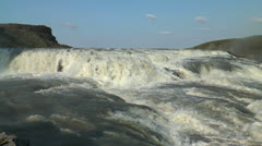 Top of gullfoss waterfall in iceland Stock Footage