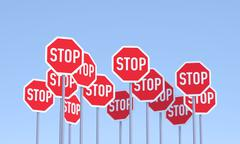 group of stop signs - stock illustration