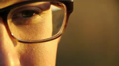 Close Up of Man with Glasses - stock footage