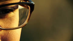 Close Up of Man with Glasses, Slow Motion, Color Corrected - stock footage