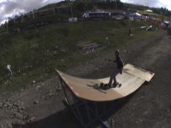 Mountain Boarder Lands Flip Stock Footage