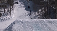 Skier does a 540 spin Stock Footage