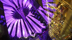 BERLIN, GERMANY ; Futuristic illuminated light Sony Center dome Stock Footage