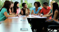 African American Female Tutor Class Multi Ethnic Students Stock Footage