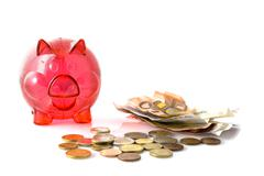 red pig for saving money - stock photo